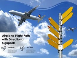 Airplane Flight Path With Directional Signposts