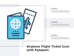 Airplane Flight Ticket Icon With Passport