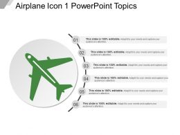 Airplane Icon 1 Powerpoint Topics Ppt Design