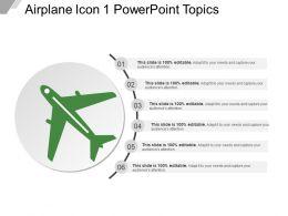 Airplane Icon 1 Powerpoint Topics Ppt Design