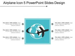 Airplane Icon 5 Powerpoint Slides Design