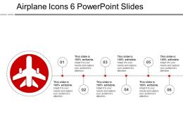 Airplane Icons 6 PowerPoint Slides