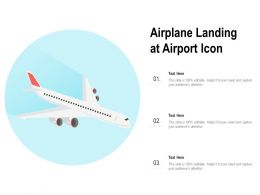 Airplane Landing At Airport Icon