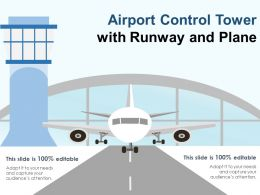 Airport Control Tower With Runway And Plane