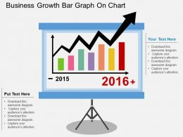 aj Business Growth Bar Graph On Chart Flat Powerpoint Design