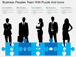 aj Business Peoples Team With Puzzle And Icons Flat Powerpoint Design