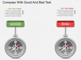 Aj Compass With Good And Bad Text Powerpoint Template
