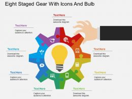aj Eight Staged Gear With Icons And Bulb Flat Powerpoint Design