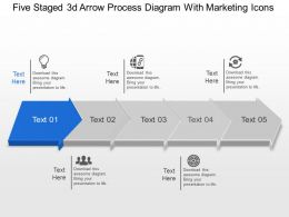 Aj Five Staged 3d Arrow Process Diagram With Marketing Icons Powerpoint Template