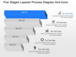 aj Five Staged Layered Process Diagram And Icons Powerpoint Template
