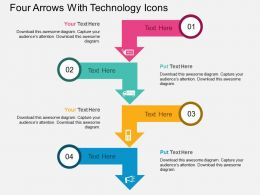 aj Four Arrows With Technology Icons Flat Powerpoint Design