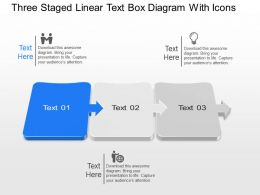 Aj Three Staged Linear Text Box Diagram With Icons Powerpoint Template Slide