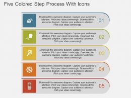 ak Five Colored Step Process With Icons Flat Powerpoint Design