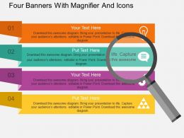 ak Four Banners With Magnifier And Icons Flat Powerpoint Design