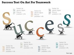 Ak Success Text On Ant For Teamwork Powerpoint Template
