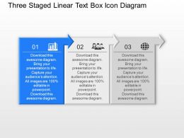 Ak Three Staged Linear Text Box Icon Diagram Powerpoint Template Slide