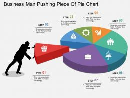 al Business Man Pushing Piece Of Pie Chart Flat Powerpoint Design