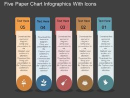 al Five Paper Chart Infographics With Icons Flat Powerpoint Design