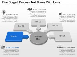 Al Five Staged Process Text Boxes With Icons Powerpoint Template