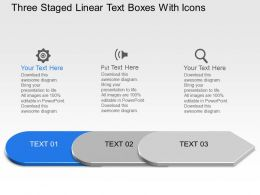 Al Three Staged Linear Text Boxes With Icons Powerpoint Template Slide