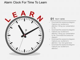 Alarm Clock For Time To Learn Flat Powerpoint Design