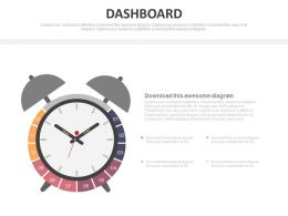 Alarm Clock With Dashboard For Time Management Powerpoint Slides