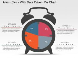 Alarm Clock With Data Driven Pie Chart Powerpoint Slides