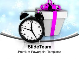 Alarm Clock With Gift Box Celebration Time PowerPoint Templates PPT Backgrounds For Slides 0113
