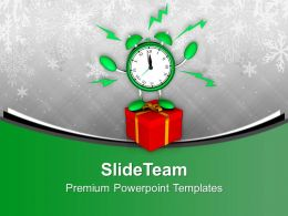Alarm Clock With Gift Christmas present PowerPoint Templates PPT Backgrounds For Slides 0113