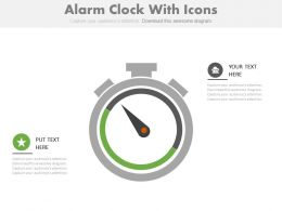 Alarm Clock With Icons For Time Management Powerpoint Slides