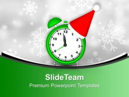 Alarm Clock With Santa Hat PowerPoint Templates PPT Backgrounds For Slides 0113