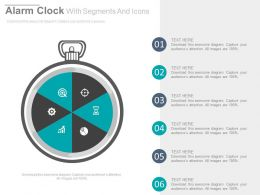 Alarm Clock With Segments And Icons Flat Powerpoint Design