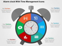 Alarm Clock With Time Management Icons Flat Powerpoint Design