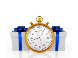 Alarm Clock With Two Gifts Stock Photo