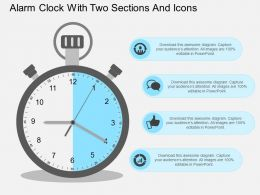Alarm Clock With Two Sections And Icons Flat Powerpoint Design