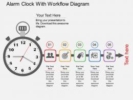 Alarm Clock With Workflow Diagram Flat Powerpoint Design