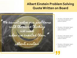 Albert Einstein Problem Solving Quote Written On Board