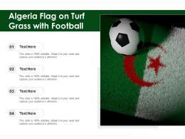 Algeria Flag On Turf Grass With Football
