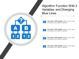 Algorithm Function With 2 Variables And Diverging Blue Lines