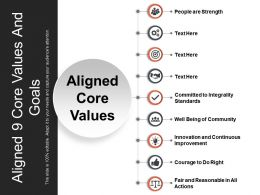 Aligned 9 Core Values And Goals Powerpoint Slide Background
