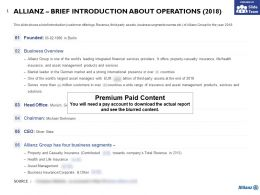 Allianz Brief Introduction About Operations 2018