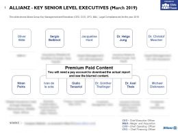 Allianz Key Senior Level Executives March 2019