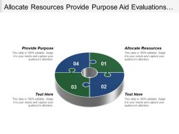 Allocate Resources Provide Purpose Aid Evaluations Reduce Uncertainty