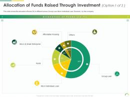 Allocation Of Funds Raised Through Investment Option 1 Of 2 Post IPO Equity Investment Pitch Ppt Formats