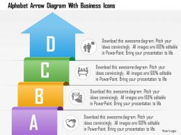 Alphabet Arrow Diagram With Business Icons Powerpoint Template