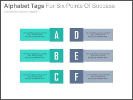 Alphabet Tags For Six Points Of Success Powerpoint Slide