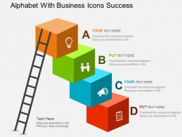 Alphabet With Business Icons Success Flat Powerpoint Design