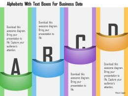 Alphabets With Text Boxes For Business Data Powerpoint Template