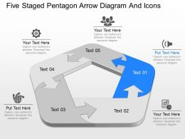 am Five Staged Pentagon Arrow Diagram And Icons Powerpoint Template