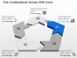 Am Five Unidirectional Arrows With Icons Powerpoint Template